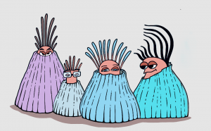 illustration of 4 anthropomorphized barnacles